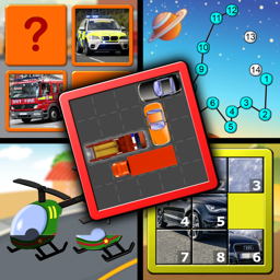 Kids Cars and Trucks Logic and Memory Puzzles - teaches preschool children the alphabet counting and jigsaw shapes