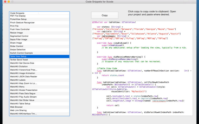 Code Snippets for Xcode