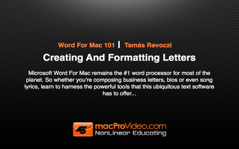 Course for Word For Mac 101 - Creating And Formatting Letters
