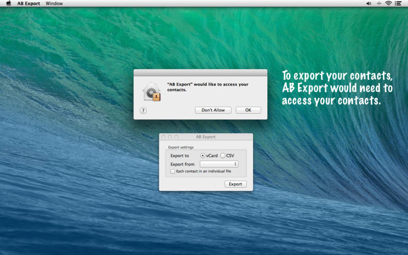 AB Export - Export Address Book contacts to CSV or VCF